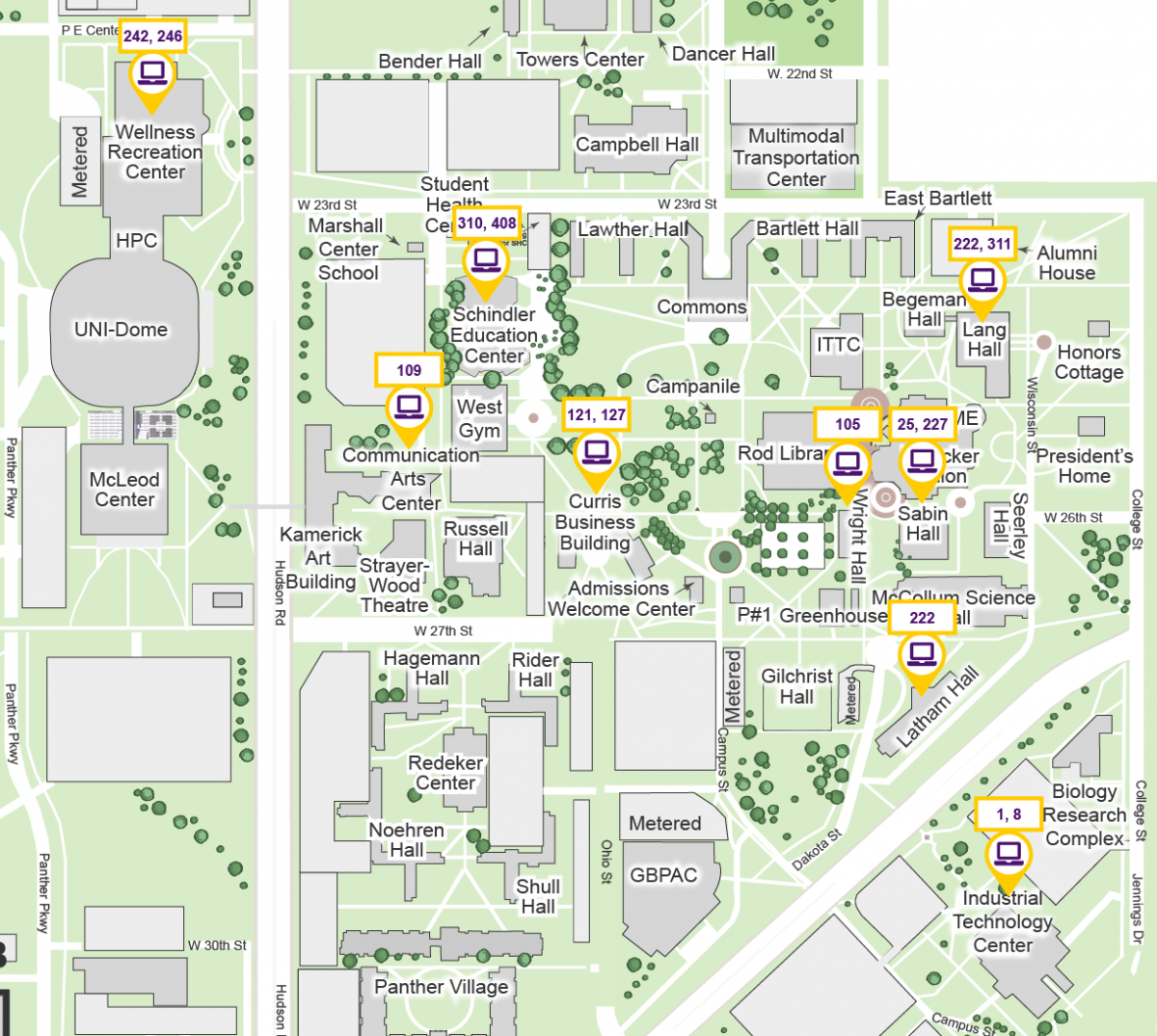 Map of campus rooms for online classes